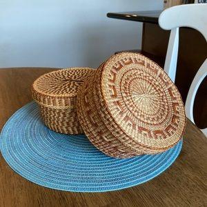 Vintage woven round baskets